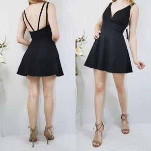 Lulus Love Galore Black Mini Skater Dress NWT